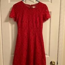 J Crew Red Lace Dress Size 00 Excellent Pre-Owned-Condition Photo