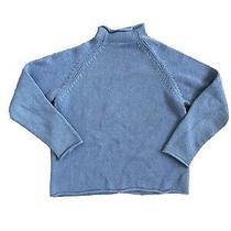 J. Crew Roll Neck Sweater Vtg Rollneck Mock Neck Light Blue Fisherman Small Photo