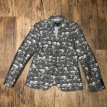 J Crew Size 4 Campbell Blazer Feather Print Womens Gray Tan Jacket Photo