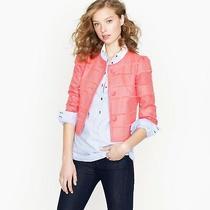 J Crew Size 4 Neon Salmon Pink Cropped Fray Cotton Long Sleeve Blazer Jacket  Photo