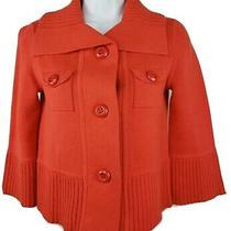 J.crew Size Xs Camilla Knit Jacket Cotton Blood Orange 92138 3/4 Sleeve Blazer Photo