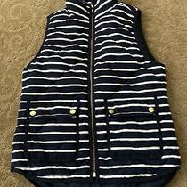 J.crew Size Xs Navy and White Stripped Puffer Vest Guc Photo