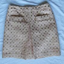 J. Crew Skirt Blush Baby Pink 4 a Line Center Pleat Retro Mod Diamond Metallic Photo