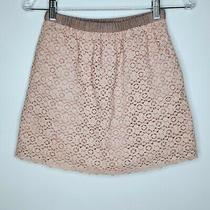J. Crew Skirt Size 00 Womens Lace Overlay Pockets Lined Cotton Blend Blush Pink Photo
