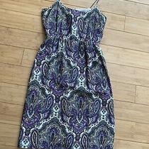 J. Crew Spaghetti Strap Summer Dress Silk Size 00. Elastic Waste Back slit.lined Photo