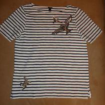 J.crew Stripe Sequin Bird Graphic T-Shirt Photo
