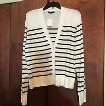 J Crew Sweater Size Xl Womens Black Stripe Cardigan v- Neck Long Sleeve.   Ds Photo