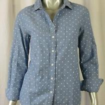 J.crew Sz 4 100% Cotton Denim Blue & White Dots Blouse Top Buttoned Collar Shirt Photo