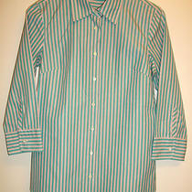 J.crew Sz S Button-Down Shirt Blouse 100% Cotton 3/4 Slv Aqua & Pink Free Ship Photo