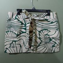 J. Crew Tan Green Floral Jungle Safari Button Tie Skirt 10 Photo