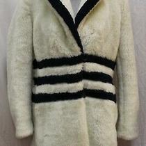 J.crew the Teddy Winter White Black Faux Fur Coat Jacket Overcoat S Small Photo