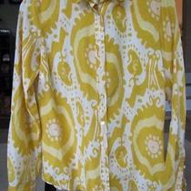 J.crew Top 4 Shirt Funky Print Yellow White Perfect Button Ladies Jcrew B2 Photo