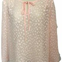 J Crew Top Xs Sheer Pink Keyhole Long Sleeve Polka Dot  Blush L/s Tunic High Low Photo