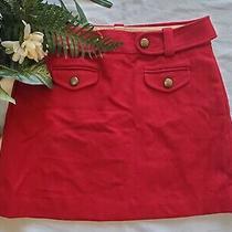 J Crew Virgin Wool Red Brass Buttoned Short Mini Belted Skirt W/ Pockets Size 6 Photo