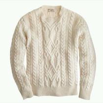 J. Crew Wallace & Barnes Shetland Wool Cable Sweater Size Large  Photo