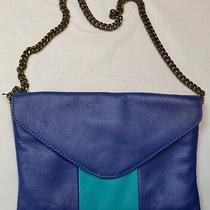 J. Crew Women's Blue Turquoise Stripe Leather Chain Envelope Shoulder Bag Clutch Photo