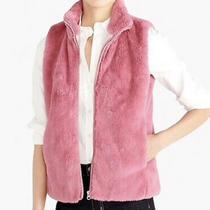 J. Crew Womens Blush Pink Plush Faux Fur Zip Front Vest Xl Nwt Photo