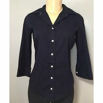 J. Crew Women's Classic Button Down Long Sleeve Shirt Size Xs Dark Blue Top Photo