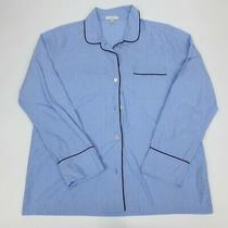 J Crew Women's M Vintage Pajama Top Button Down Shirt Blue Tipped Cotton 1 Pc Photo