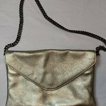 J. Crew Women's Metallic Gold Pebbled Leather Chain Envelope Shoulder Bag Clutch Photo