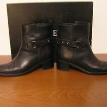 J.crew Women's  Parker 9 1/2 Black Leather  Ankle  Boots With Strap   Excellent Photo