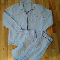 J Crew Women's Xl Pajamas Long-Sleeve End-on-End Light Weight Blue H2233 2 Piece Photo