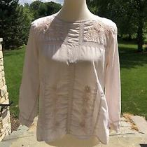 J Crew Womens 3/4 Sleeve Blush Pink Embroidered Lace Blouse Top Shirt Size 0 Photo
