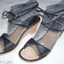 J Crew Womens Black Glove Leather Ankle Tie Sandals Sz 7 Made in Italy Photo