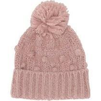 J. Crew Womens Blush Pink Chunky Cable Knit Alpaca Blend Bobble Pom Pom Hat New Photo