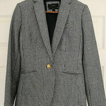 J Crew Womens Campbell Blazer Houndstooth Sz 00 Blue White Lined Career Weekend Photo