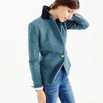 J. Crew Womens Campbell Wool Blazer Blue Herringbone Size 00 Suit Jacket Lined  Photo
