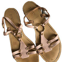 J Crew Womens Gladiator Sandals Blush Pink and Gold Strappy Size 8 Flats Summer Photo