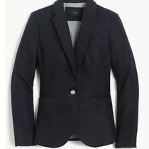 J Crew Womens Size 8 Navy Blue Campbell Blazer in Linen Lined Nwt Photo