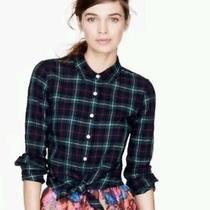 J. Crew Womens Sz 2 Black Watch Tartan Plaid Perfect Shirt Soldout Rare Photo