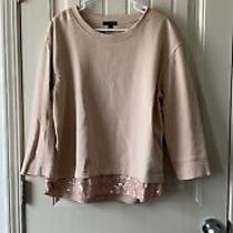 J Crew Xl Blush Pink Sequin Trim Sweatshirt Top Excellent Cute Casual Photo