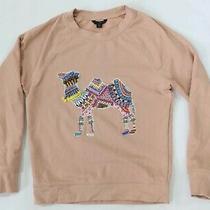 J Crew Xs Blush Pink Camel Beaded Crewneck Pullover Sweatshirt Photo