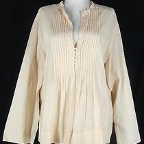 J.jill 100% Cotton Voile Lawn Pintuck Blouse Shirt Top L Blush Beige Tunic Photo