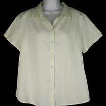 J. Jill Linen Shirt Top Blouse L Large Pale Honeydew Green Linen Shirred Photo