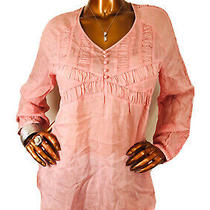 J.jill M Top Blush Low Cut v Neck Sheer Nwt Silky Look Long Sleeve Blouse Shirt Photo