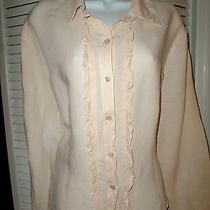 J. Jill Size Xl Blush/light Peach Linen Ruffle Button-Down Shirt/blouse Summer Photo