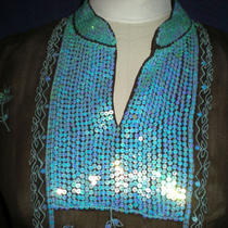 J. Marco Stunning Brown/aqua Sequined Tunic Top Size Medium Photo