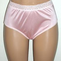 J New Fruit of the Loom Blush Peach Silky Nylon Hi-Cut Brief Lace Waist 30w 7/l Photo