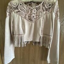 j.o.a. Faux Suede Crop Top Zipper Back Blush Pink Lace Upper Size S Photo