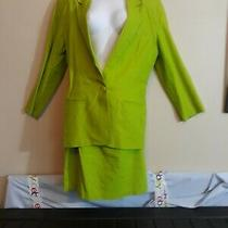 j.r.t by Newport News One Button  Green Two Piece Jacket Skirt Set Size 12 Photo
