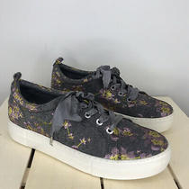 J Slides Size 8.5 Floral Brocade Graygoldpurple Metallic Lace Up Sneakers Photo