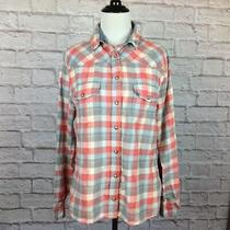 Jachs Girlfriend Top Women Medium Snap Down Plaid Blush Red Blue Cotton Pockets Photo