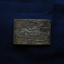 Jack Daniel's Whiskey 1904 Solid Brass Buckle Tiffany Studios Marked Photo