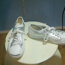 Jack Purcell Converse White Athletic Shoes Silver Trim Perfect Men 9 Woman 10.5 Photo