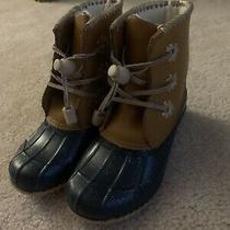 Jack Rogers Miss Chloe Glitter Rain Boot - Big Girl's Size 12 Brown/navy Photo