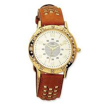 Jackie Kennedy Swarovski Crystal Watch in Gold Plated - Leather Strap Photo